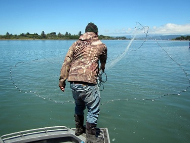 Man throwing line for sardine fishing, the word Wiyot on back of jacket.